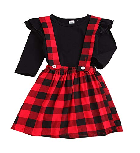 Baby Outfits Girl Long Sleeve T-Shirt Ruffle Top Overalls Strap Dress Clothes Set Plaid Skirt Winter Black