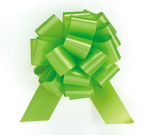 Lime Green Citrus Pull String Bows - 5.5 Inch Wide 20 Loops (1 and 7/8 Inch Ribbon) Set of 10