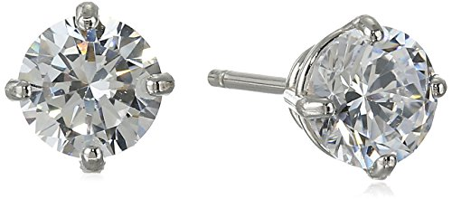 14k White Gold Round-Cut Cubic Zirconia Stud Earrings (1 cttw, Diamond Equivalent)