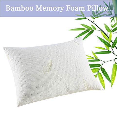 YOUMAKO Bamboo Bed Pillow for Sleeping, Queen Cooling Shredded Memory Foam Pillow, Adjustable Pillow for Neck Pain with Zipper Removable Case for Side Back Stomach Sleepers (Creamy Yellow)