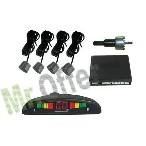 Kit 4 sensori parcheggio posteriori, sensori di retromarcia per auto con display led e segnale acustico. Sensore di parcheggio di colore grigio verniciabile per facilitare le operazioni di manovra anche con scarsa visibilità , per auto, furgoni e ca