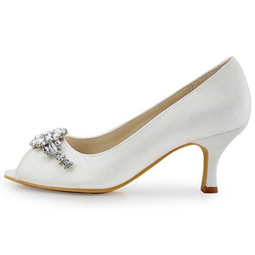 Elegantpark Satin Diamant Escarpins ouvert Pompes Chaussures Femme Fleur Ivoire Bout HP1541 rxaRnr