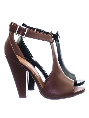 Aquapillar Taper Block Heel Peep Toe Double Open Shank D'Orsay Pump w Ankle Strap ()