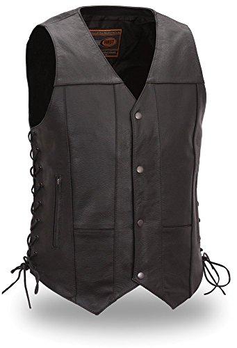 Mens Leather 10 Pocket Biker Vest FIM-630-CFD
