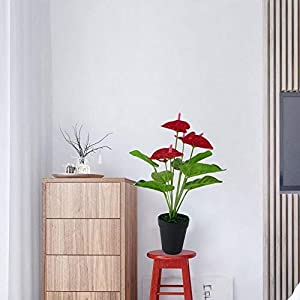 MARJON Flowers1 Pc Artificial Plants Red Anthurium Fake Flowers Lifelike Indoor Decoration Never Wither and Fall (no Pot) Size 33cm (Red+Green) 3