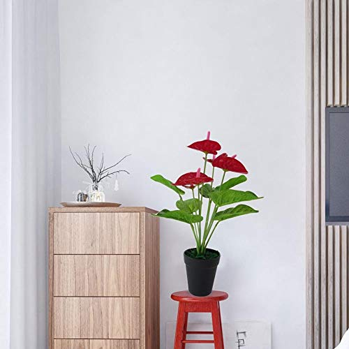 MARJON-Flowers1-Pc-Artificial-Plants-Red-Anthurium-Fake-Flowers-Lifelike-Indoor-Decoration-Never-Wither-and-Fall-no-Pot-Size-33cm-RedGreen