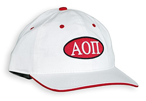 Express Design Group Greekgear Alpha Omicron PI Throwback Oval Game Hat – White, One Size Fits - Womens Gear Throw Express