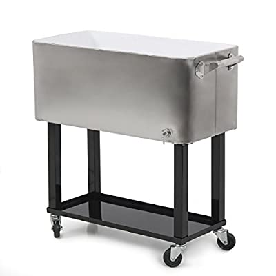 Outdoor 80 Quart Portable Rolling Patio Steel Party Cooler Cart Ice Chest BBQ Soda Beverage