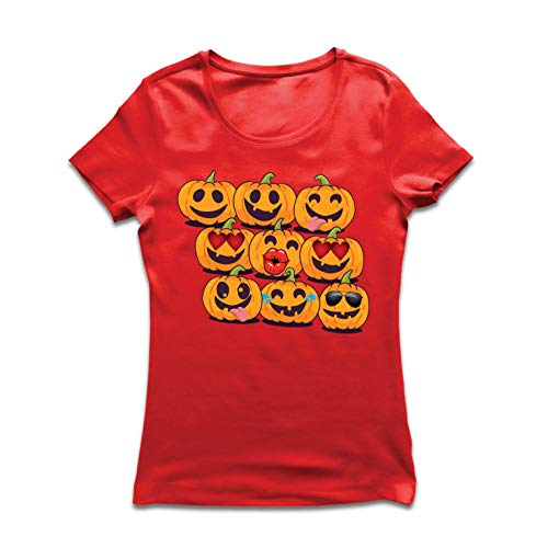 lepni.me Women's T-Shirt Pumpkin Emoji Funny Halloween Party Costume (XX-Large Red Multi -
