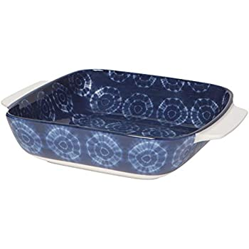 Now Designs 5092016aa Stamped Porcelain Baking Dish, 8 x 8 Inch/1.3 Quart Capacity, Shibori Design