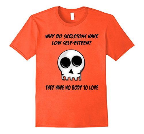 Mens Orange Skeleton No Body Halloween T-Shirt Bad Joke Funny Tee Large Orange