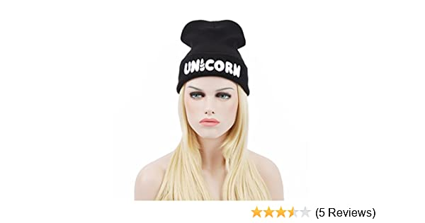 d6efb537e158f Amazon.com  Creazy® Winter Black UNICORN Beanie Hat And Snapback Men And  Women Cap  Clothing
