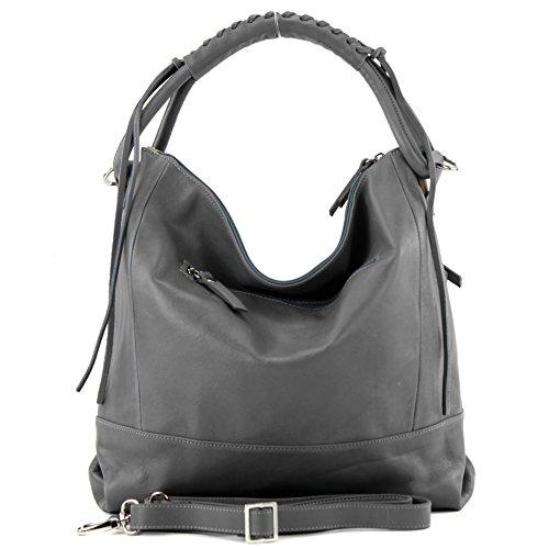 modamoda de - ital. Ledertasche Damentasche Handtasche Schultertasche Nappaleder W35 Dunkelgrau 300Z98