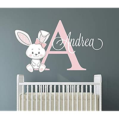 Custom Bunny Name Wall Decal for Girls - Bunny Room Decor - Nursery Wall Decals - Bunny Wall Decor Mural Sticker: Kitchen & Dining