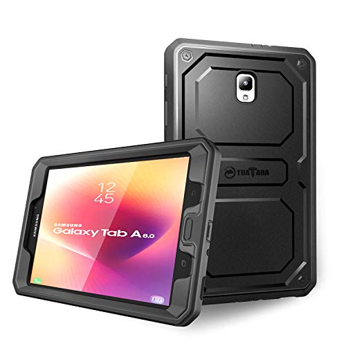 Fintie Shockproof Case for Samsung Galaxy Tab A 8.0 2017 Model T380 / T385, Rugged Unibody Dual Layer Hybrid Full Protective Cover w/Built-in Screen Protector for Galaxy Tab A 8.0 - 8 Silicone Black Gb