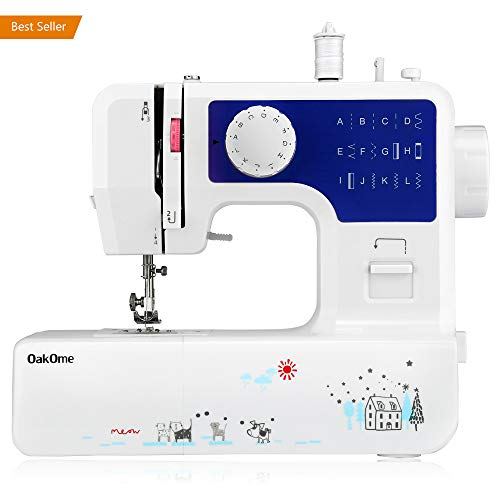 oakome Household Sewing Machine Multifunction – 12 Built-in Stitches and Patterns, Strong Horsepower, Perfect for All Sewing Jobs, Great for Beginners and Convenient for The Experienced (Blue)
