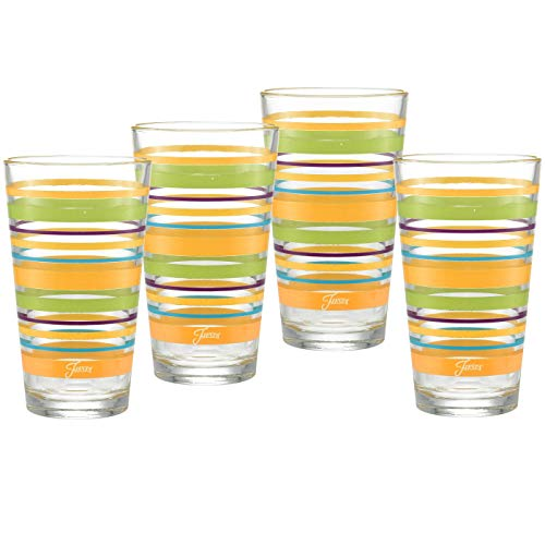 Officially Licensed Fiesta Stripes 16-Ounce Tapered Cooler Glass (Set of 4) (Caribbean Sunset)