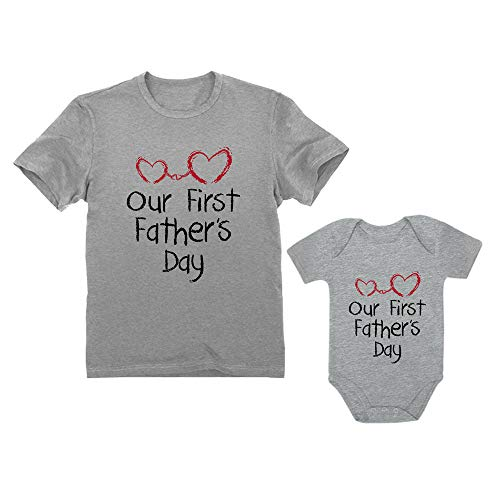 Our First Father's Day Dad & Baby Matching Set Infant Bodysuit & Men's T-Shirt Dad Gray Large/Baby Gray NB ()