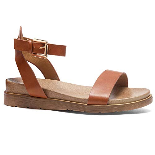 Herstyle Needed Me Women's Fashion Ankle Strap Buckle Low Wedge Platform Heel Comfortable Sandals Shoes