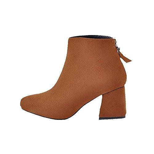 AllhqFashion Damen Rein Quadratisch Zehe Weiches Material Reißverschluss Stiefel, Grau, 42