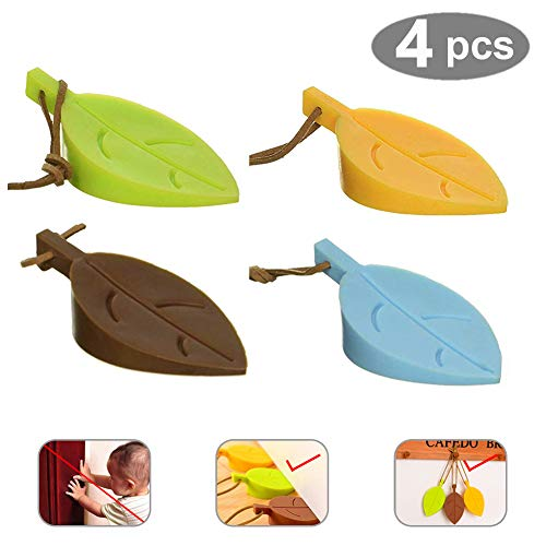 (Door Stopper Wedge Finger Protector, 4 Pack Premium Cute Colorful Leaf Style)