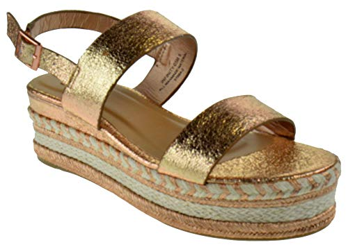 Bamboo Infinity 05M Womens Double Band Espadrilles Open Toe Platform Sandals Rose Gold Metallic 8 ()