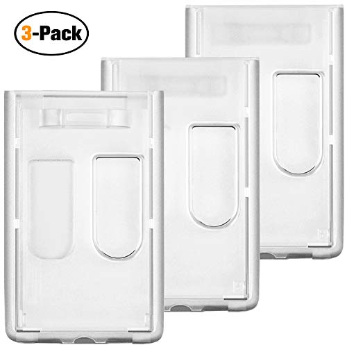3 Pack - Slim Heavy Duty Badge Holders, Vetoo Hard Plastic Clear ID Card Holder with Vertical Thumb Slots, Hold 2 Cards