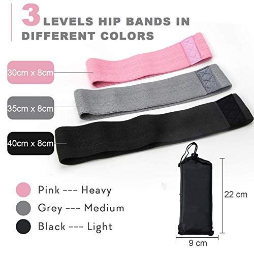 Best Exercise Bands for Women and Men - Thick Elastic Fabric Workout Bands for Working Out Legs, Butt, Glute- Stretch Fitness Booty Loops Bands for Gym, Weights & Squats (3 Resistance Bands)