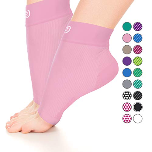 - GO2 Compression Sock Ankle Sleeve Men Women - Best Plantar Fasciitis Arch Support, Injury Recovery, Injury Prevention - Relief from Joint Pain, Foot Pain, Swelling, Achy Feet (Solid Pink,Small)