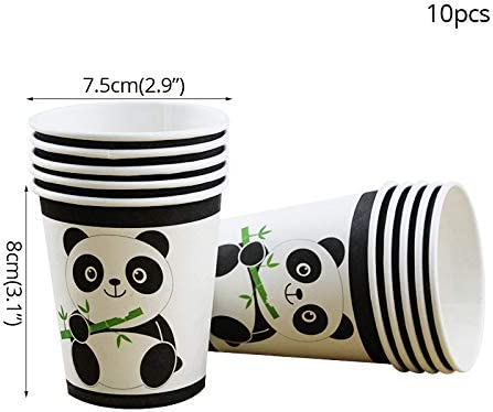 Weyoo Panda Party Supplies Set Including Plates, Napkins, Cups, Banner Animal Themed Party Favors Kids Birthday Decorations Tableware