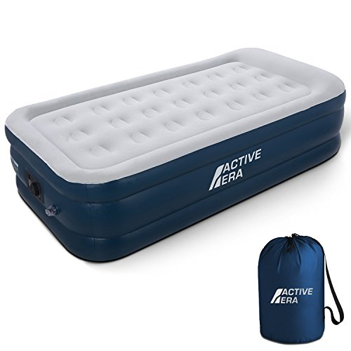 Active Era Premium Twin Air Mattress (Single) with Built-in Pump & Raised Pillow - Elevated Double High Inflatable Airbed for Guests - Puncture Resistant with Waterproof Flocked Top, Height 21""