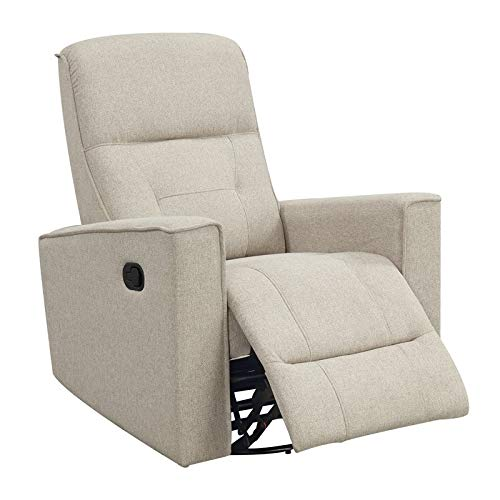 Emerald Home Furnishings Landon Ecru Swivel Reclining Glider with Pillow Back and Square Arms