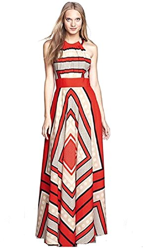 BOMOVO Damen Sommer Sexy Ohne Arm Lang Chiffon Strandkleid Abendkleid Maxi Kleid