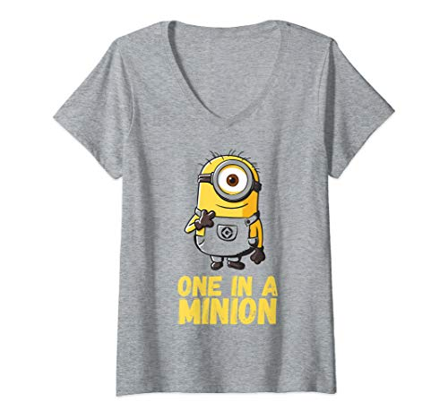 Womens Despicable Me Minions One In A Minion Yellow Text Portrait V-Neck T-Shirt -