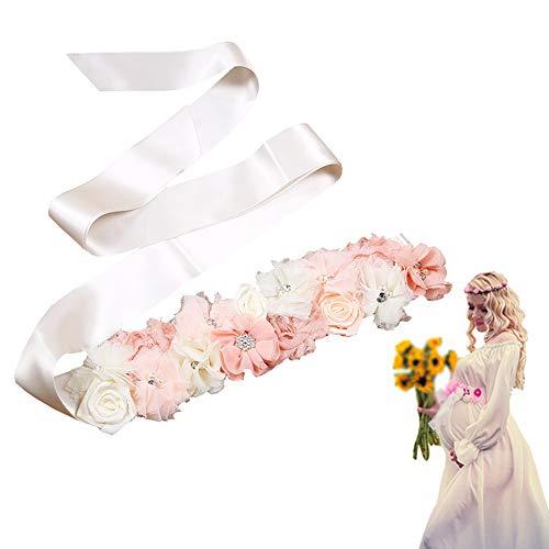 Zaptex Flower Belt Maternity Pregnancy Bridal Sash for Baby Shower Wedding Dress Accessories (C, Peach)