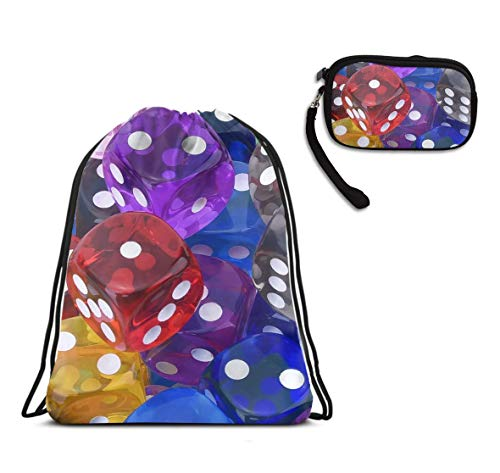 (Games Dice Set Drawstring Bag Swim Gym Rucksack, Lightweight Waterproof Cinch Sackpack Large Size Backpack With Smartphone Wristlets Purses Coin Cash Purse)