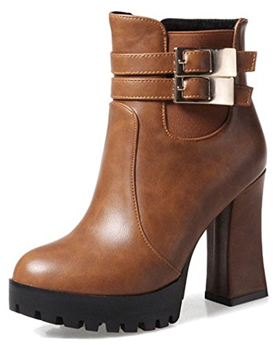 Heel Ankle Easemax High Booties Toe Women's Chunky Side High Pointy Zipper With Retro Brown Buckle qpaqO