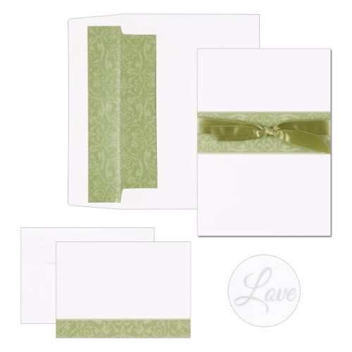Hortense B. Hewitt Wedding Accessories Print Yourself Invitation Kit, Olive Band, Pack of 50