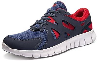TSLA Men's Lightweight Sports Running Shoes, Flex Mesh(x700) - Cool Grey & Red, 11,