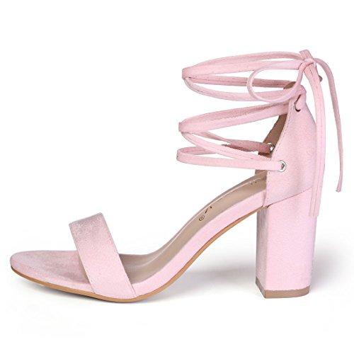 Zapatillas Allegra K Para Mujer Con Punta Abierta Sandalias Altas Con Tacón Alto Y Cordones Rosa Claro