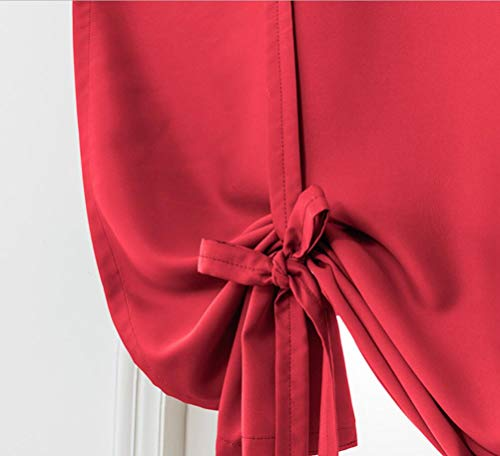 (Solid Red Blackout Curtain,Tie Up Shades Thermal Insulated Drapes Panels for Small Window Valance,Balloon Room Darkening Privacy Curtain for Kitchen,Nursery,Bedroom Living Room,32x55 inch Long)