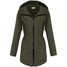 Hotouch Womens Lightweight Travel Trench Waterproof Raincoat Hoodie Windproof Hiking Coat Packable Rain Jacket