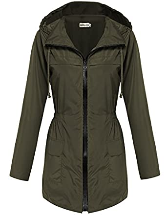 Amazon.com: HOTOUCH Womens Lightweight Travel Trench Waterproof ...