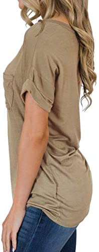 TASAMO Women's Short Sleeve V-Neck Shirts Loose Casual Tee T-Shirt Basic Tops