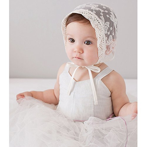 Baby Summer Cool Hat Butterfly Knot White Lace Cap Newborn Cotton Beanie Hats 0-3Y