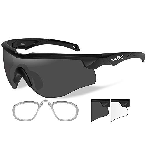 Lenses Wiley X Prescription (Wiley X Rogue Sunglasses - Smoke Grey/Clear Lens - Matte Black Frame. [2801RX])