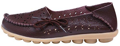 WENN FÜHLEN Frauen Flats Leder Driving Loafer Schuhe Braun-3