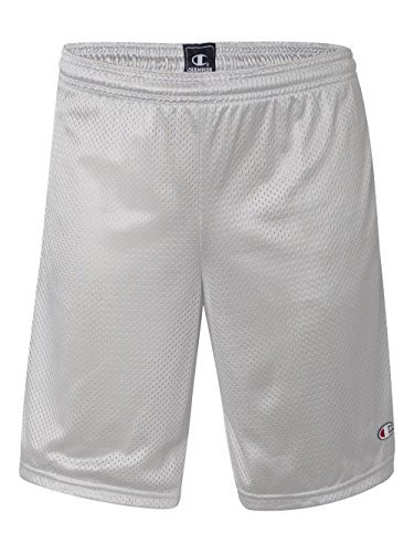 Wholesale Athletic Wear - Champion Long Mesh Men's Shorts with Pockets_Athletic Grey_Small