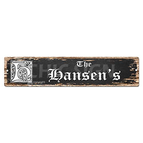 (The HANSEN'S Family name Plate Sign Vintage Rustic Street Sign Beach Bar Pub Cafe Restaurant shop Home Room Wall Door Decor Gift Sign)