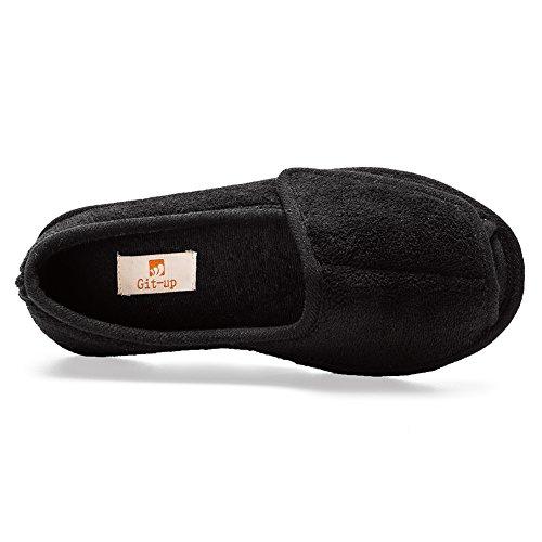 Git-up Women Diabetic Slippers Arthritis Edema Memory Foam Nonslip Plantar Fasciitis Washable Adjustable Pantoufles Gitup Comfortable Clinic Open Toed Shoes For Diabetic Pregnant Patients Black hgJe3IudQ8